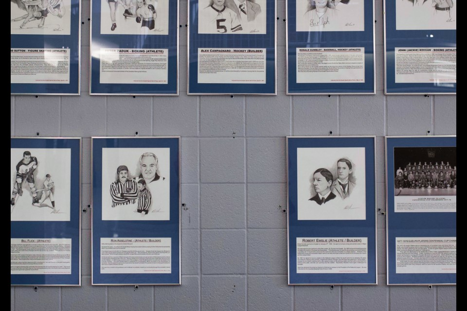 Dave Scott-Thomas's plaque has been removed from the Guelph Sports Hall of Fame display at the Sleeman Centre. Kenneth Armstrong/GuelphToday