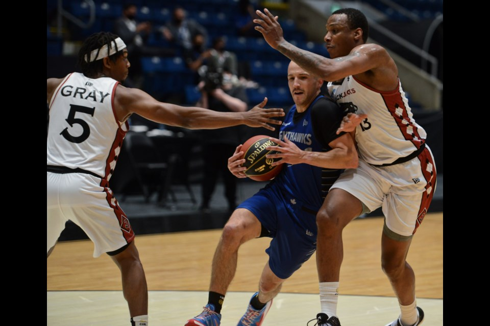 Kimbal Mackenzie of the Guelph Nighthawks drives to the hoop Monday at the Sleeman Centre. Tony Saxon/GuelphToday