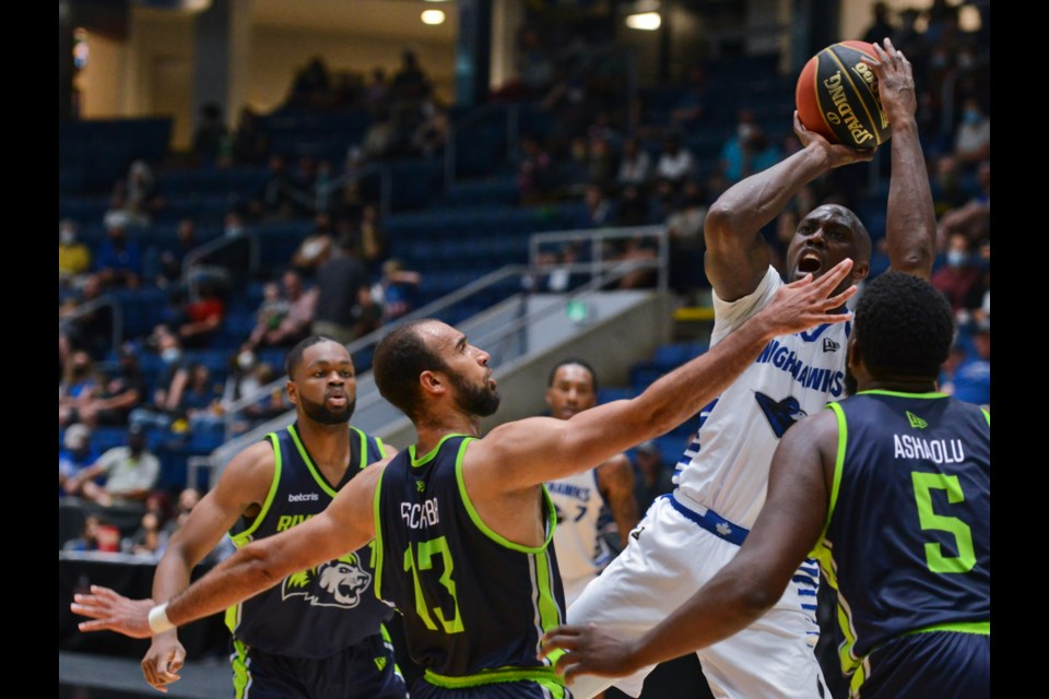 Olu Famutimi of the Guelph Nighthawks pulls up for a jump shot against the Niagara River Lions Sunday at the Sleeman Centre. Guelph lost 89-69.
