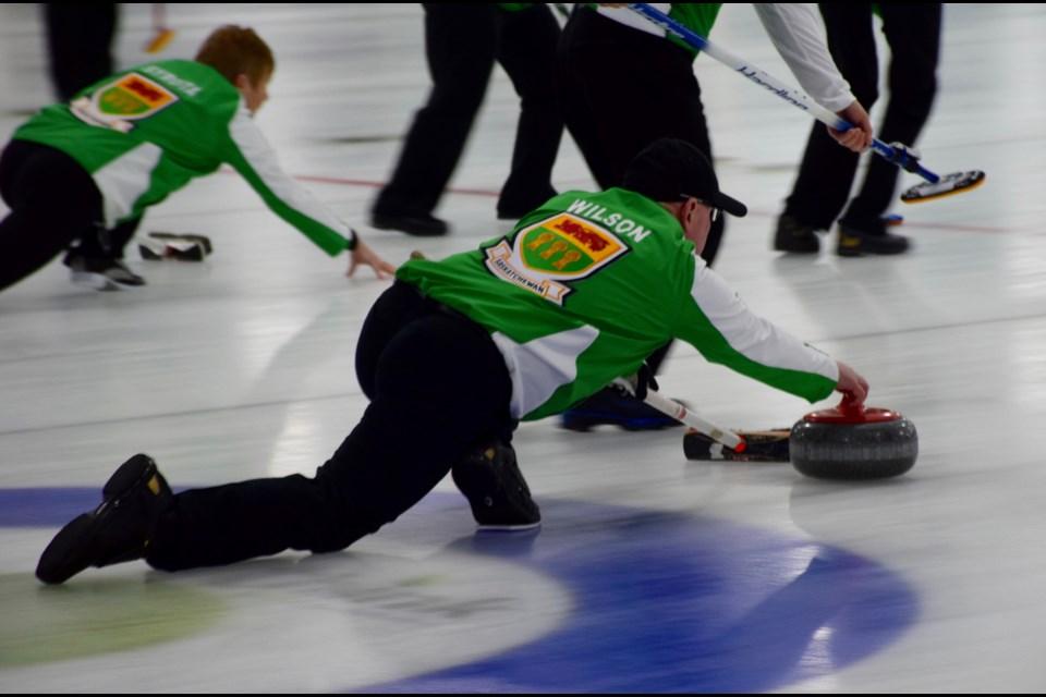 Saskatchewan women's and men's teams throw rocks at the same time Monday morning. Rob O'Flanagan/GuelphToday