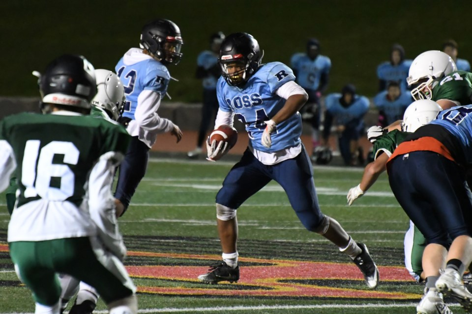 Running back Teo Jean-Gaston (24) of the Ross Royals carries the football during District 10 high school league play at Alumni Stadium. Jean-Gaston is one of the first recruits to sign on with the Guelph Gryphons for university play. Rob Massey for GuelphToday