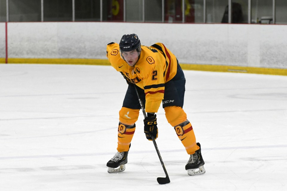 Defenceman Patrick Sanvido of the Queen's Gaels gets set for a faceoff during OUA men's hockey play this week at the Gryphon Centre. The Guelph native is captain of the Gaels. Rob Massey for GuelphToday