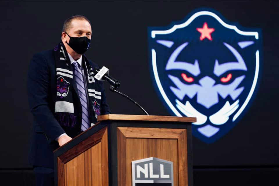 Guelph minor lacrosse graduate Bob Hamley, general manager and vice-president of operations of the Forth Worth-based Panther City Lacrosse Club, talks during the news conference to reveal the National Lacrosse League team's name and logo last month in Fort Worth, Tex. Submitted photo