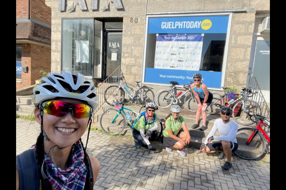 The Dashing Divas team take a quick photo in front of the GuelphToday office while on their ride
