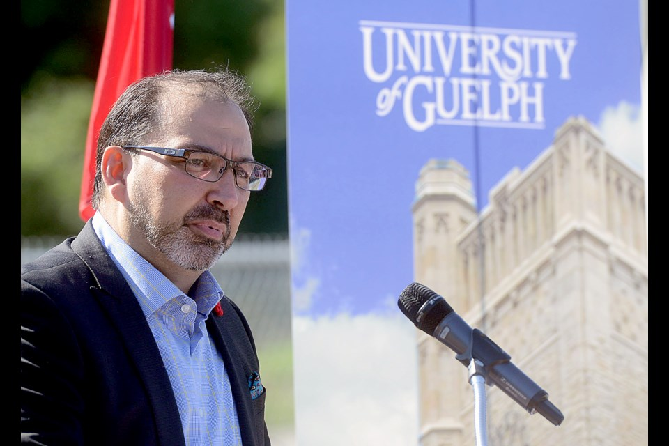 Ontario Energy Minister Glenn Thibeault announces $5.8 million incentive to the University of Guelph on campus Monday, Sept. 19, 2016, for its new thermal energy cooling system. Tony Saxon/GuelphToday