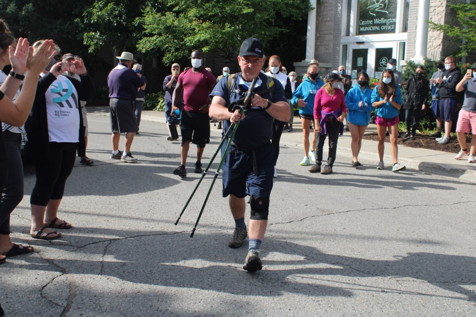 Neil Dunsmore takes the first few steps of his journey from the township office to Ottawa. Keegan Kozolanka/GuelphToday
