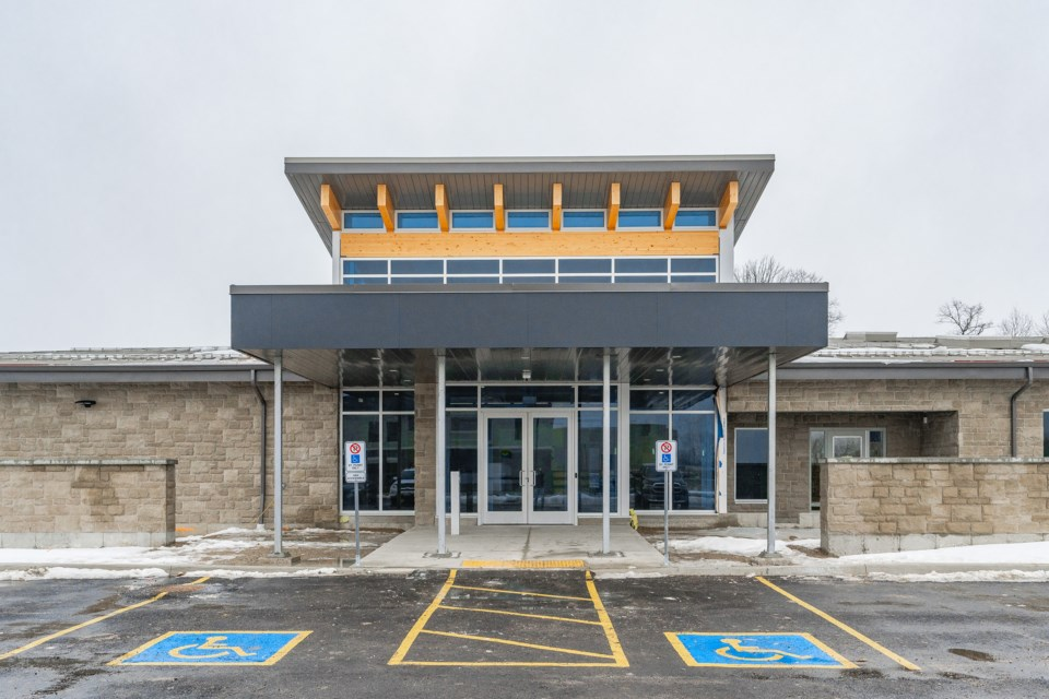 An external look at the front entrance of the new Guelph Humane Society building, at 190 Hanlon Creek Blvd. (Supplied photo)