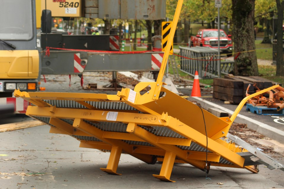 The first two sections of the crane were laid on the ground and labelled. (Victoria Walton/HalifaxToday)