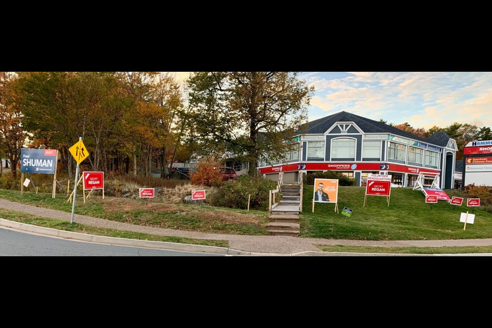 Candidate signs along the Bedford Highway. (Photo: Katie Hartai)