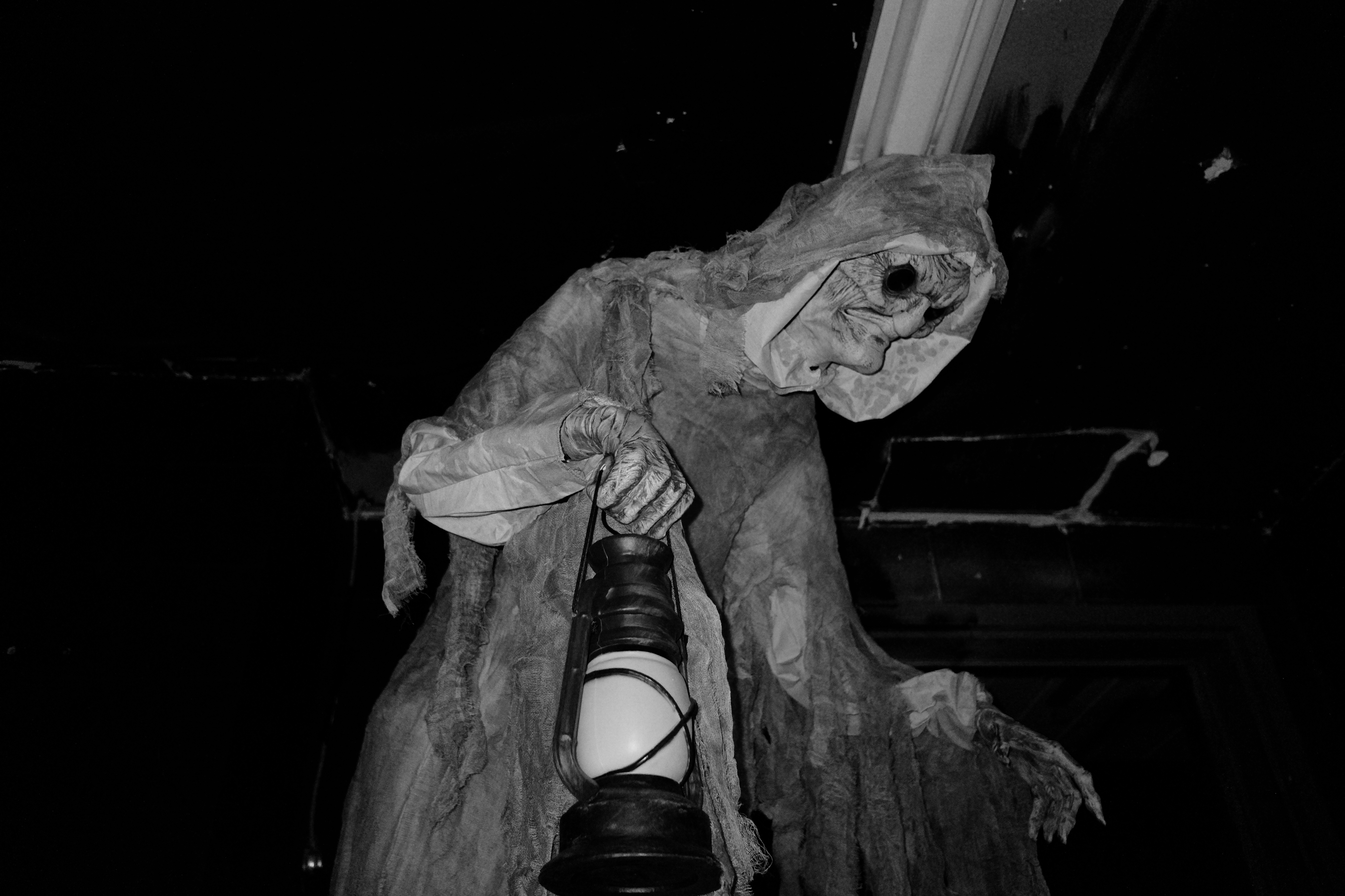 A black and white photo of an animatronic goblin.