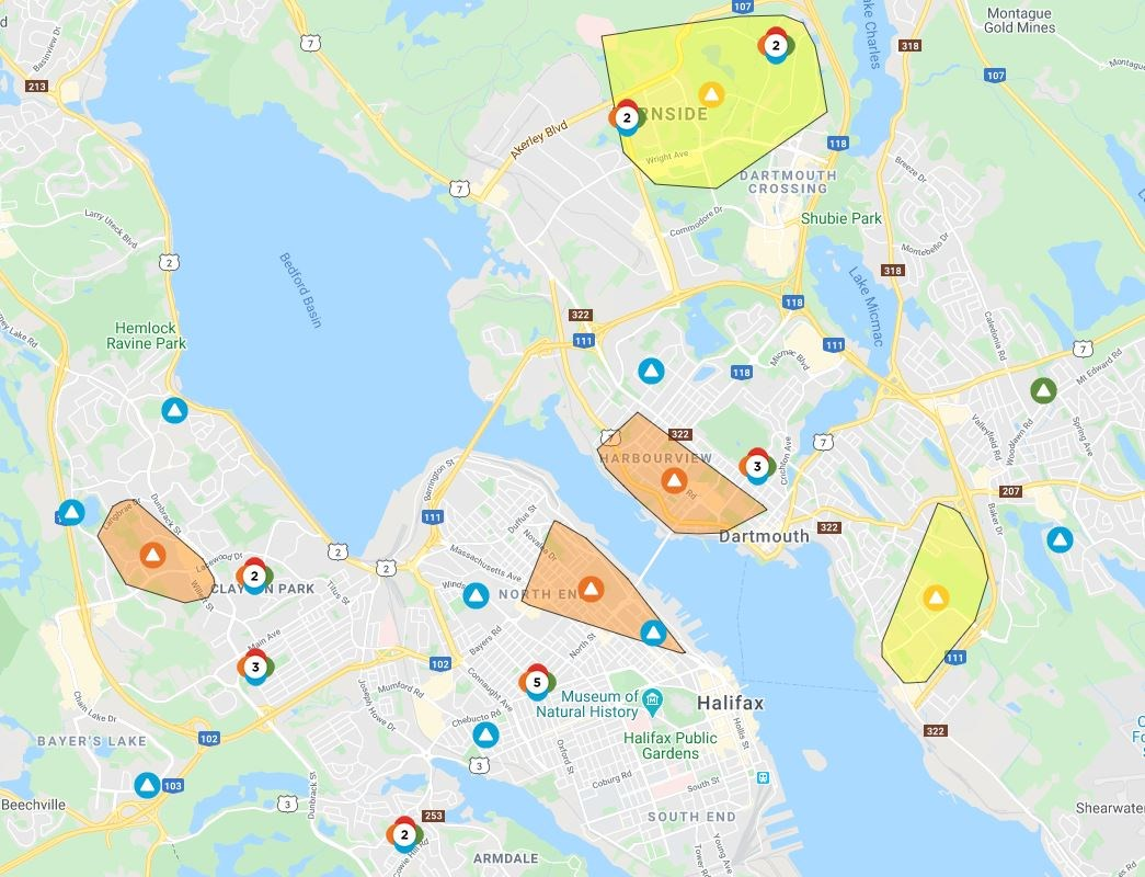 High winds and icy conditions knock out power to parts of HRM
