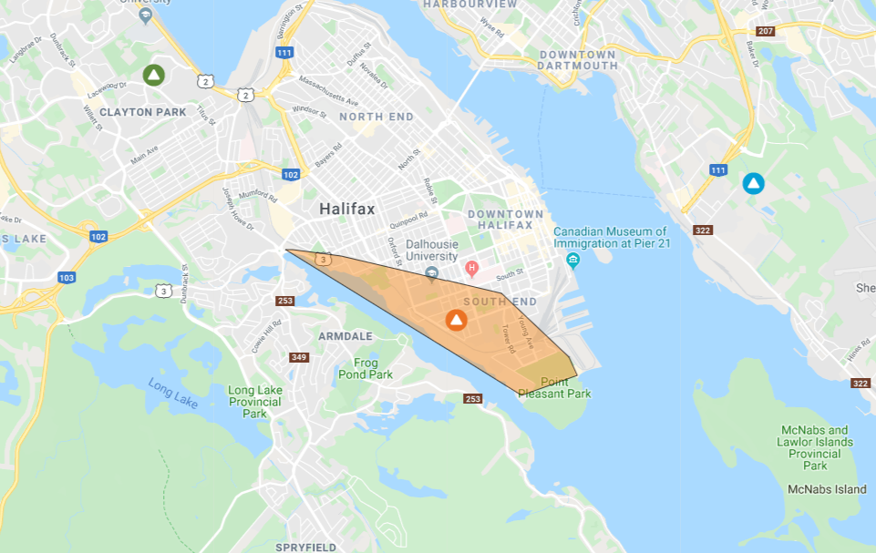 Power outage on part of the peninsula as 'weather bomb' hits Halifax