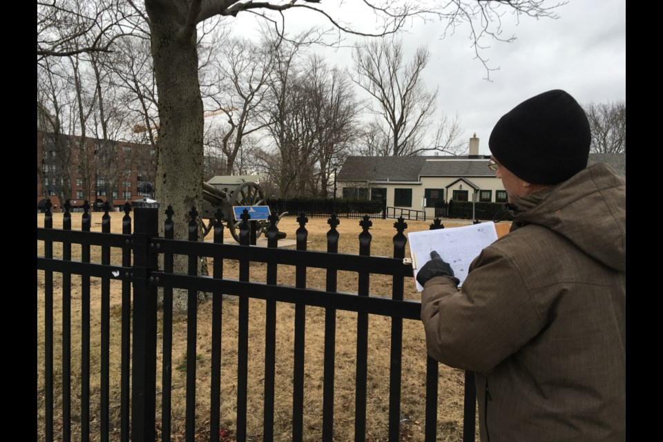 Dr. Jonathan Fowler inspects the suspected site of one of the original five forts of Downtown Halifax at the Royal Artillery Park on Sackville Street. (Credit: Dr. Jonathan Fowler)