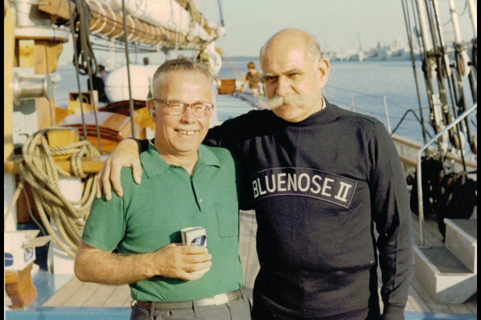 """The real brewmaster Alan """"Bim"""" Coolen (left) aboard Bluenose II with the actor portraying him in a television commercial in the 1960s. (Bruce MacNab Collection)"""