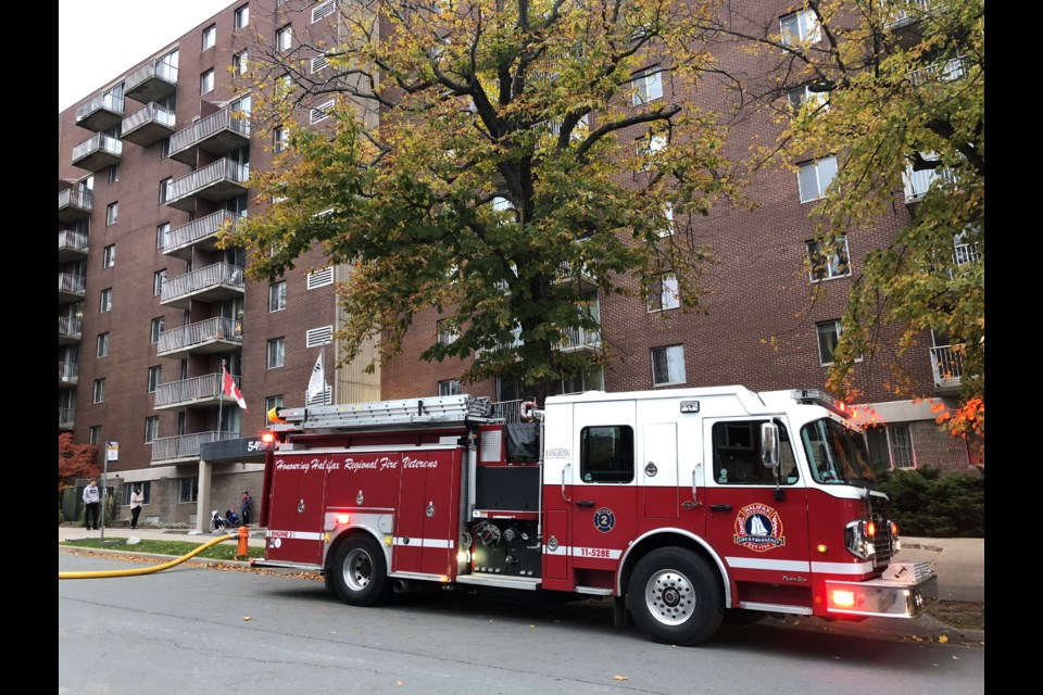 Fire broke out in a shed behind a 10 storey apartment building in the south end (Meghan Groff/HalifaxToday.ca)