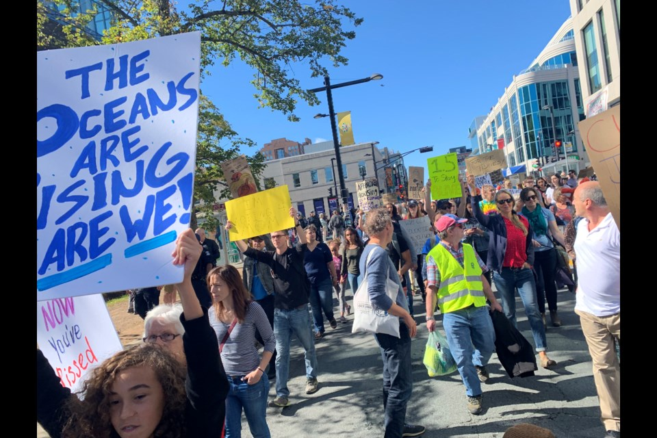 The March started at Victoria Park and went down Spring Garden. (Lyndsay Armstrong for HalifaxToday.ca)