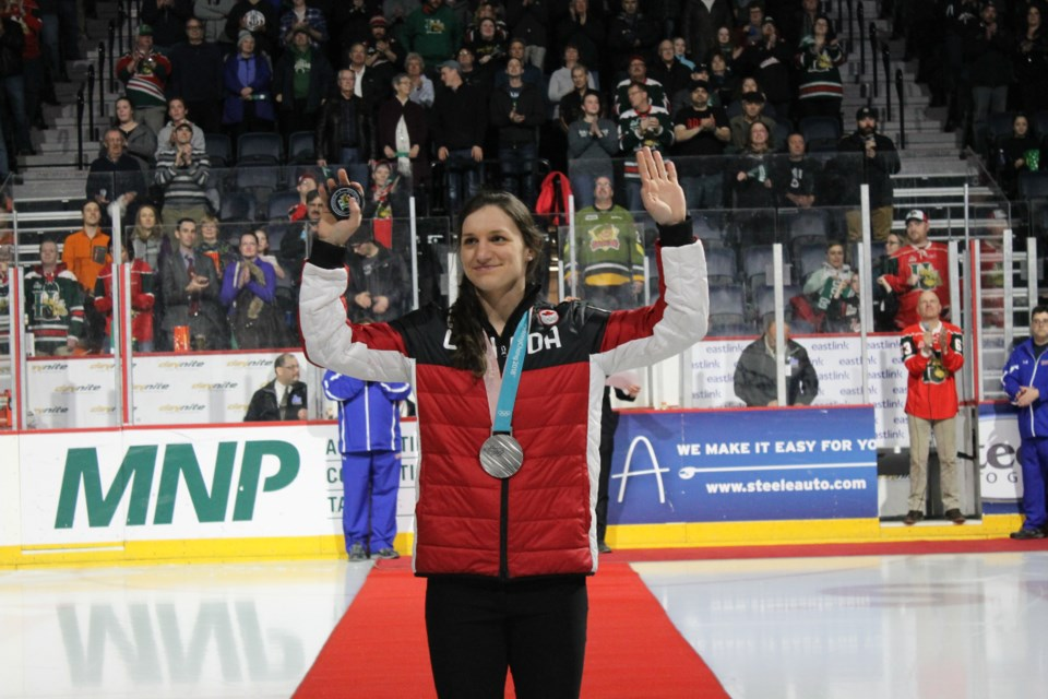 Jill Saulnier drops the puck at Wednesday night's Halifax Mooseheads game (Photo contributed by the Halifax Mooseheads)