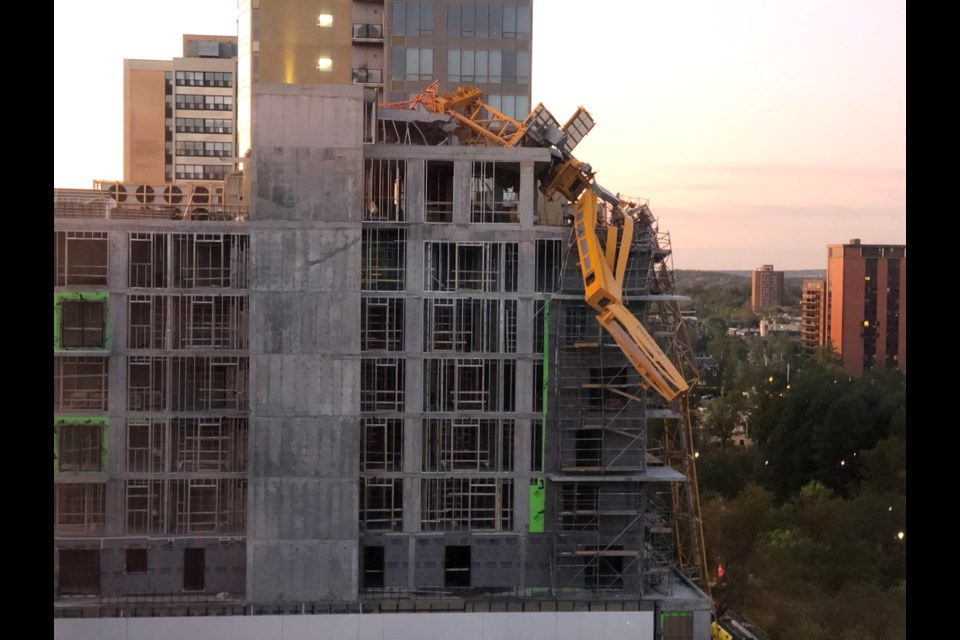 The collapsed construction crane as seen from a room at the  Lord Nelson Hotel on Monday, Sept. 9 (Dave Heintzman/HalifaxToday.ca)
