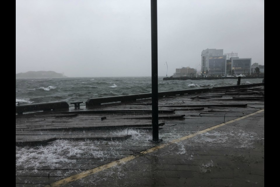 The Halifax waterfront during Dorian's visit on Sept. 7, 2019
