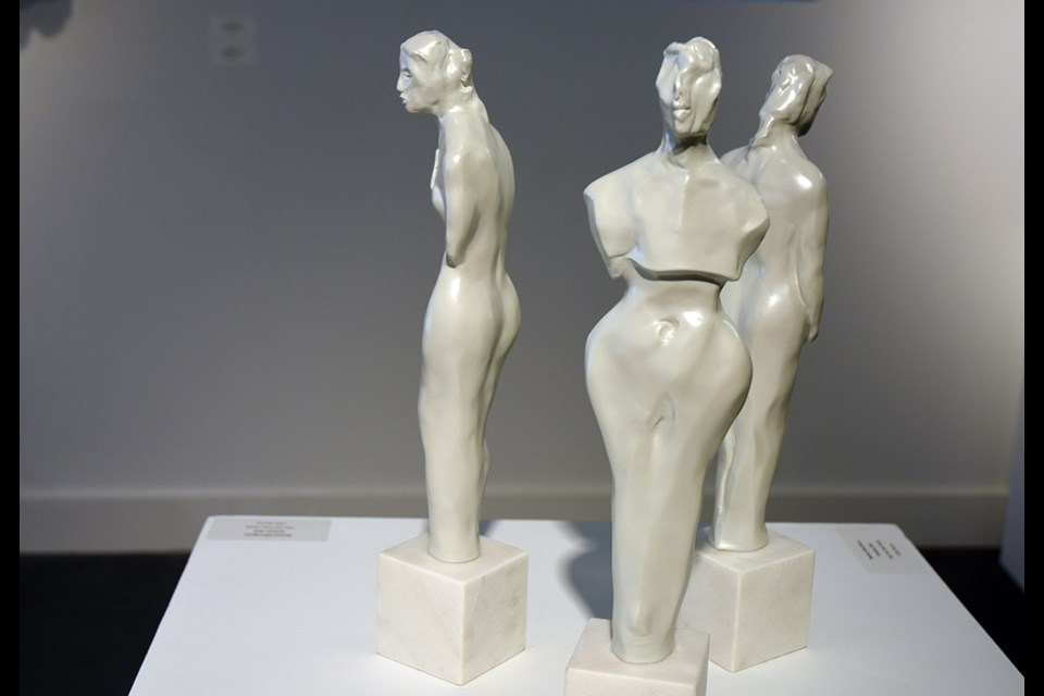 Three figures by Marlene Hilton-Moore — Veil, Succor, Enceinte — bring a sense of the monumental and the mythical to the be contemporary art gallery. Miriam King for InnisfilToday