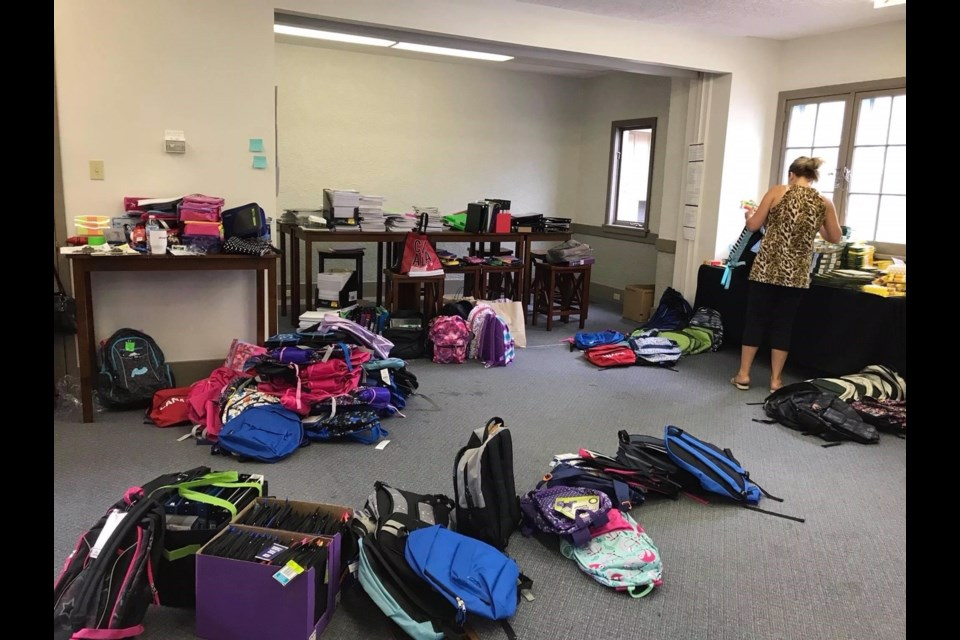 C4Kids backpack program fills over 100 backpacks with school supplies for kids in Innisfil schools every year.
