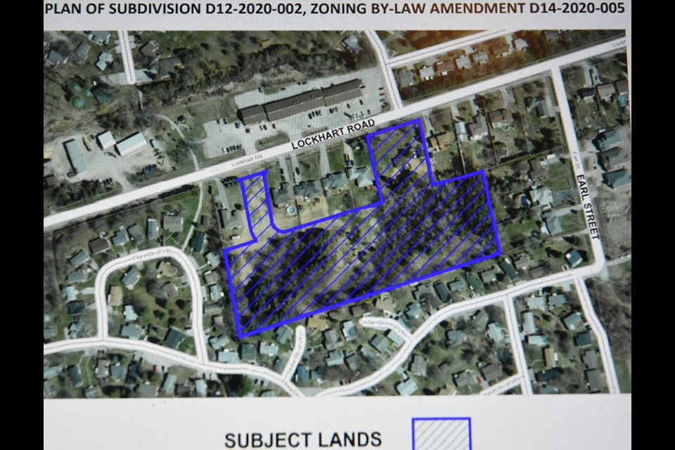 Location of proposed subdivision, on the south side of Lockhart Road in Innisfil.