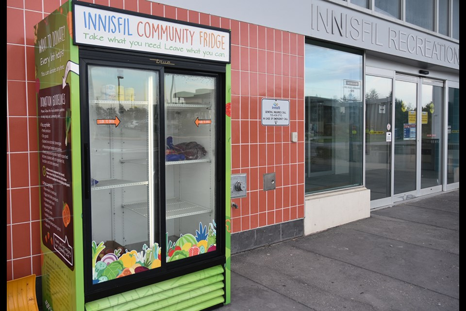 Innisfil Council has extended the Community Fridge Project, and renamed it in honour of the late Troy Scott. The fridge is shown at the north entrance of the Innisfil Recreation Complex.
