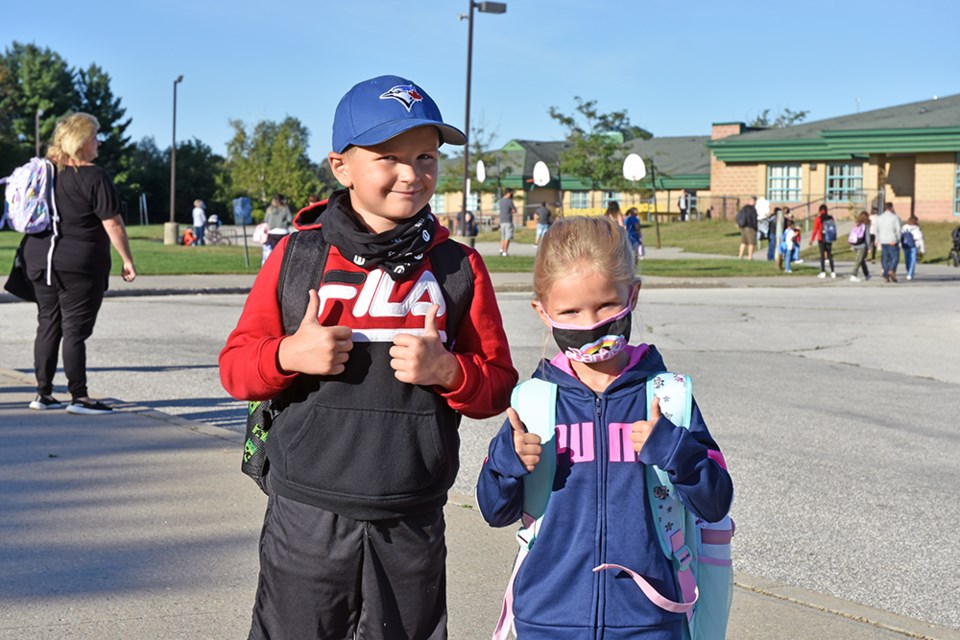 Two thumbs up on the first day of school at St. Francis of Assisi Catholic School in Innisfil.
