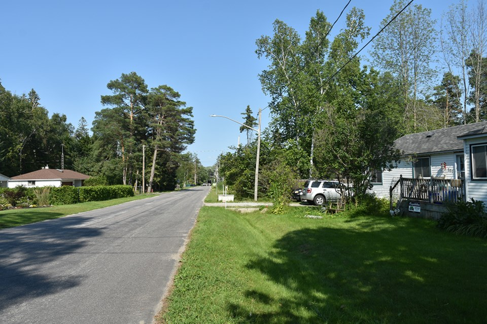 Looking east on Park Road in Alcona, during the 'dry season.'