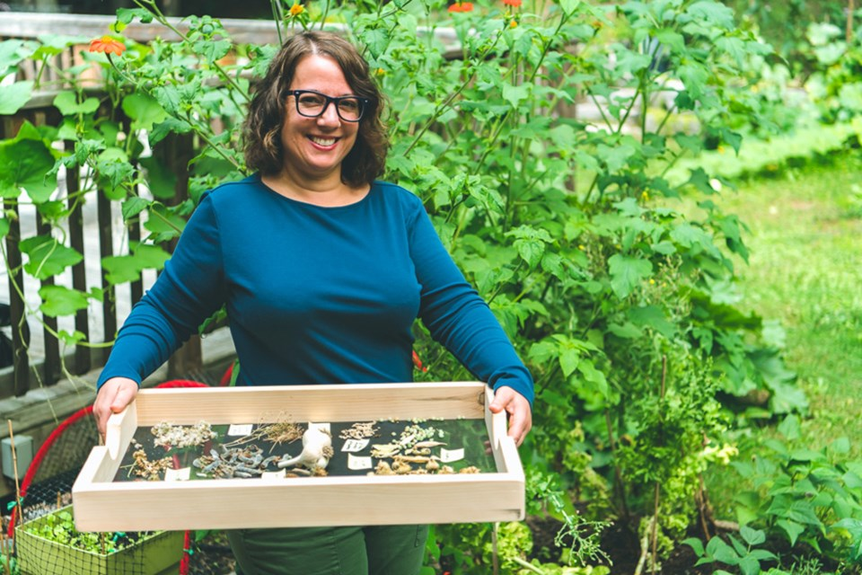 Bridget Indelicato, with a tray full of harvested seeds. Andrew Silk/Submitted photo
