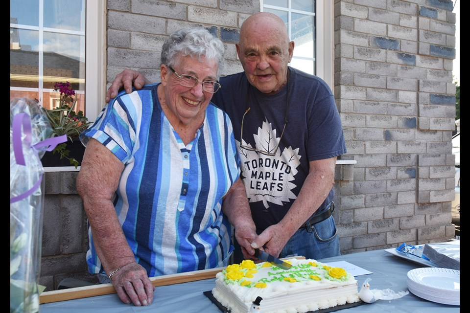Ralph and Bessie Vaters, at their 'surprise' 65th wedding anniversary celebration.