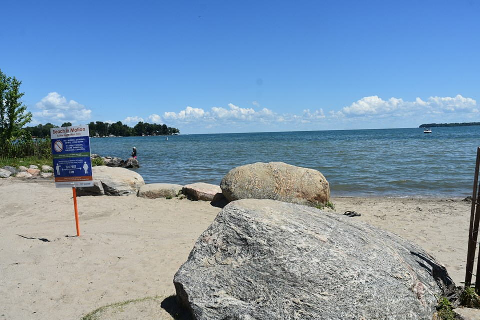 The north beaches at Innisfil Beach Park are no longer under a swim advisory, just in time for the long weekend. Miriam King/Innisfil Today