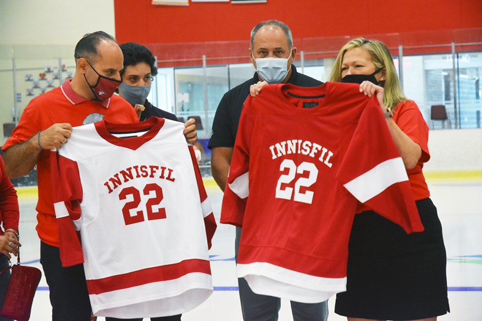 The new Innisfil Spartans jerseys will be red and white, but the logo is still in development.