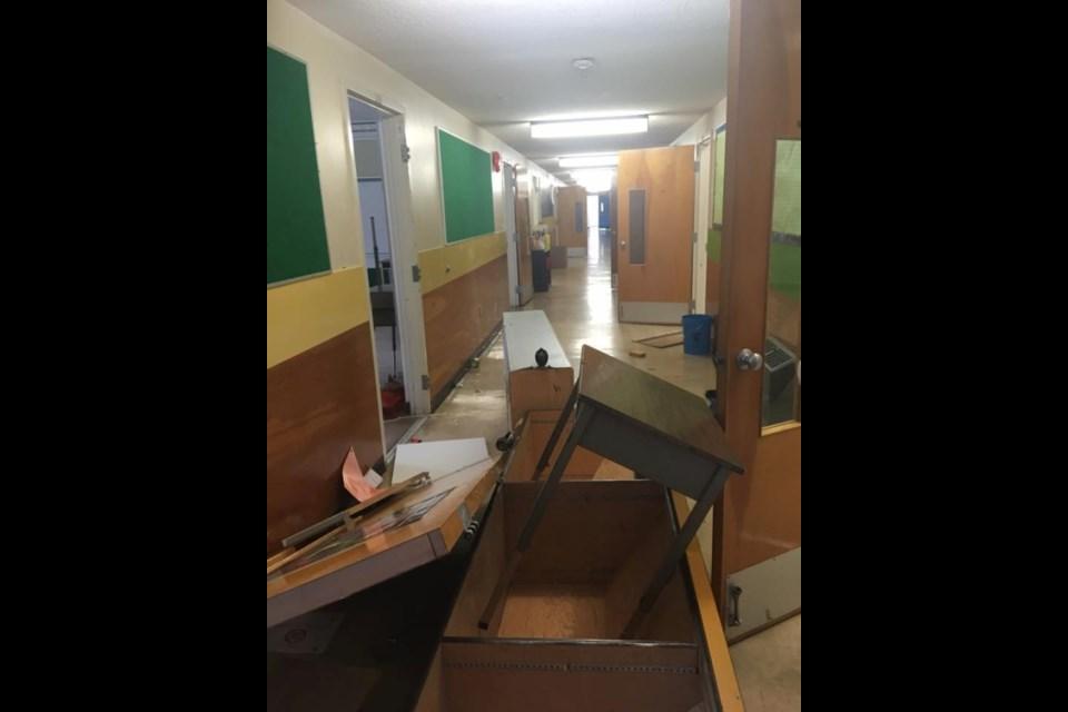 Doors were pulled off hinges in Nanaimo school. (via Steve Rae/Facebook)