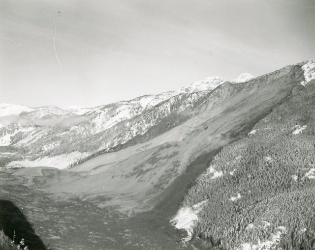 Aerial view of the Hope Slide looking westward, January 1965. Photo via Tran BC