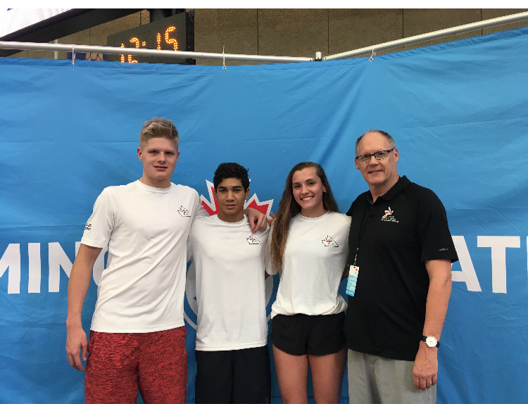 Jack Cameron, Diego Paz, Haley Rowden and coach Brad Dalke at the 2019 Canadian Junior Swimming Championships. (via Brad Dalke)