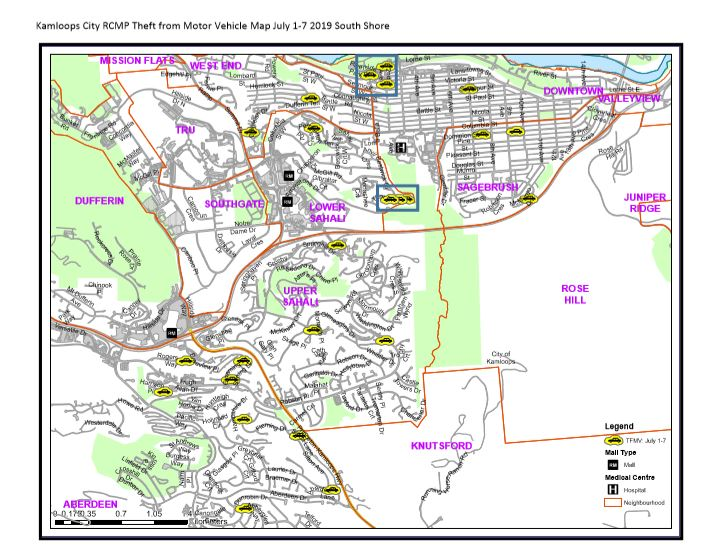Here\'s a map of where vehicle thefts happened in Kamloops ...