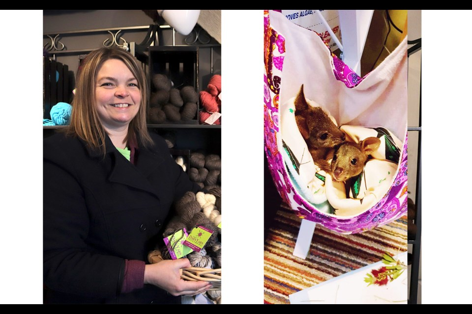 Nicole Link of the yarn shop, and Willow and Oak, two young Kangaroos in a homemade pouch. (via Brendan Kergin and Ella Jung)