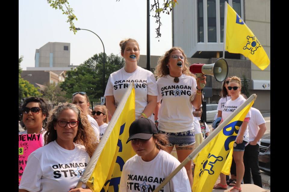 BCGEU members prior to marching to the BCLC started nearby at the corner of First Avenue and Lansdowne Street. (via Brendan Kergin)