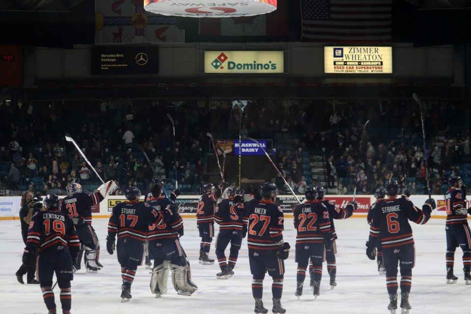 The Kamloops Blazers salute the fans after win number one. (via Eric Thompson)
