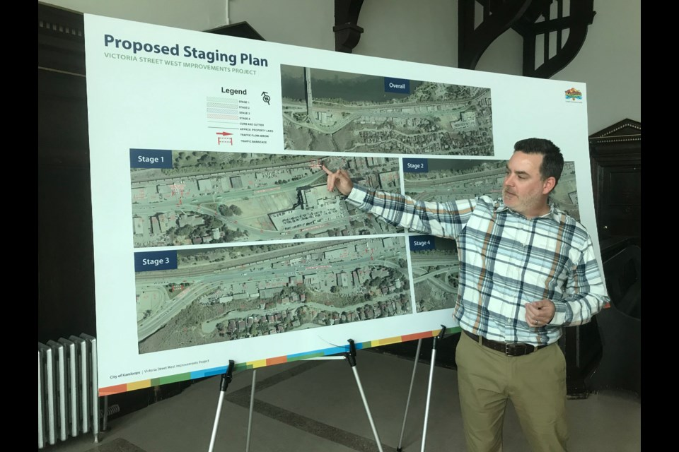 Capital projects manager Darren Crundwell describes the Victoria Street West project during a media briefing on March 27. (via Brendan Kergin)