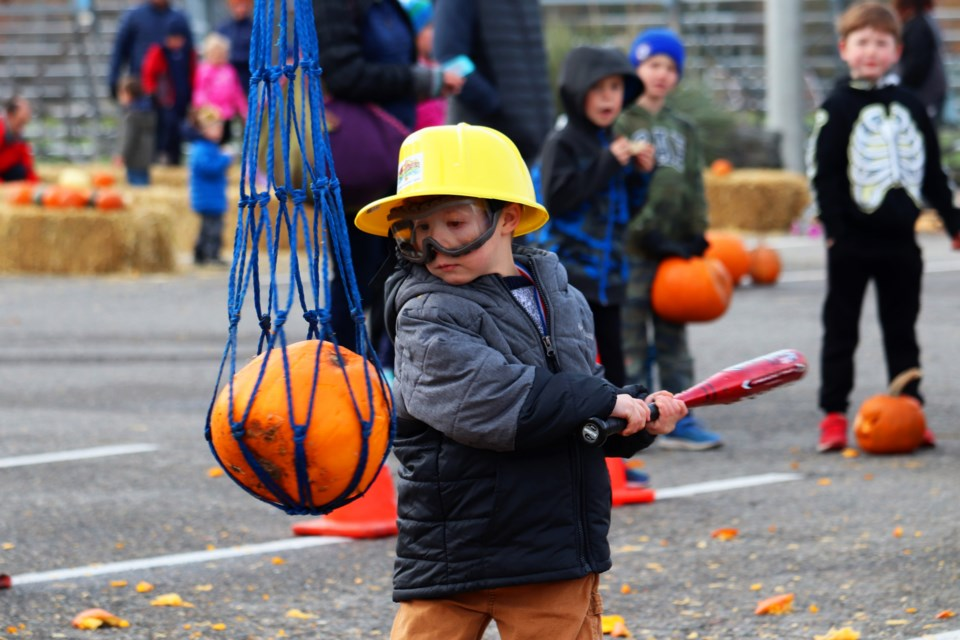 Among the possible ways to smash your pumpkin, a popular one was the pumpkin pinata.  (via Eric Thompson)