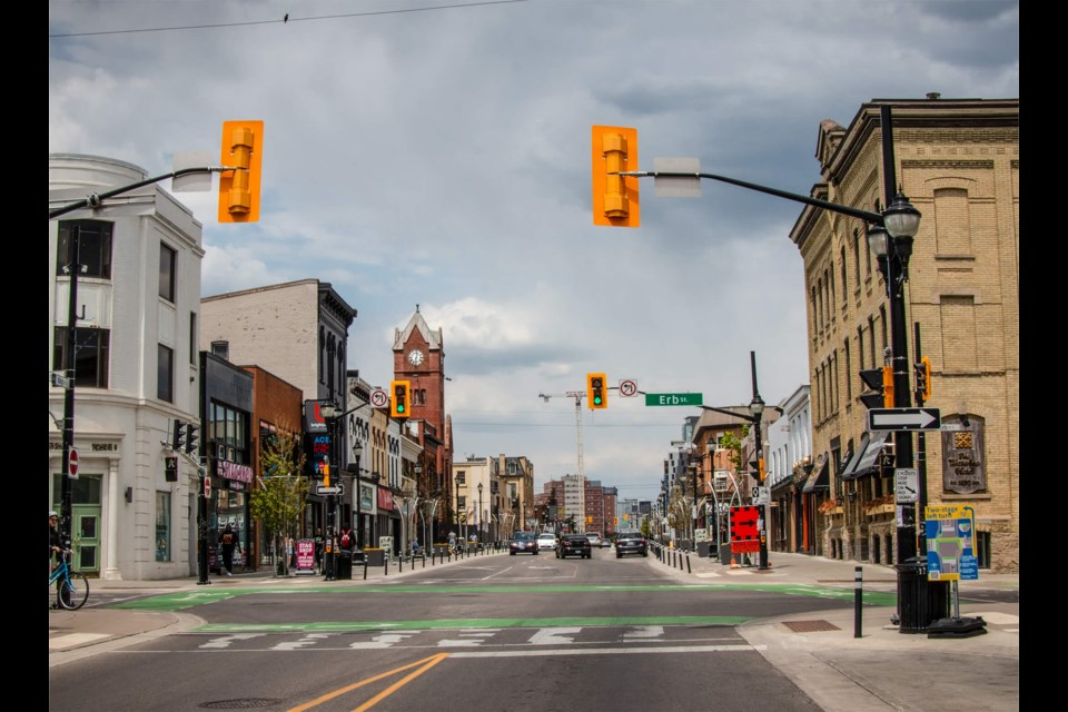 View of King Street looking north from Erb in 2021.