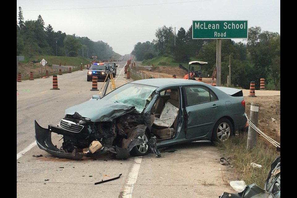 An elderly woman suffered life-threatening injuries in a crash on Brant Road near McLean School Road on Tuesday, September 18, 2018. Jeff Pickel/KitchenerToday
