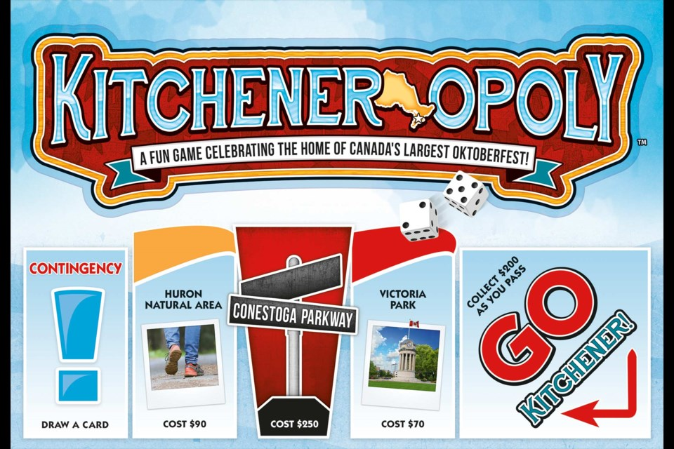 Photo of Kitchener-Opoly board game box from Outset Media.