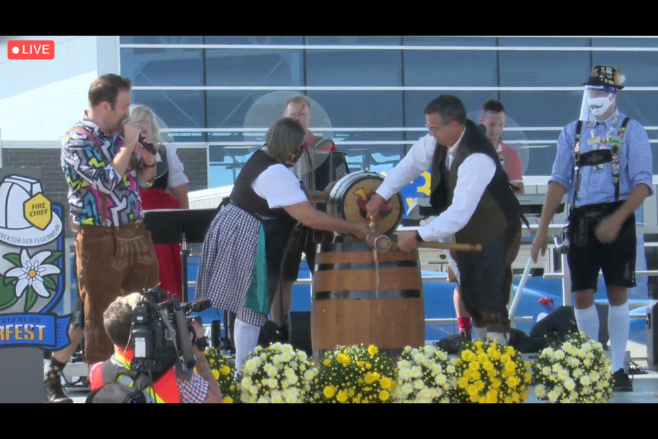 Screenshot from livestream of the opening ceremonies for the 52nd annual K-W Oktoberfest.
