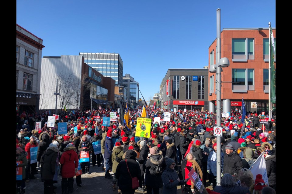 Thousands of teachers, education workers pack the area around Kitchener City Hall for a rally (Feb. 21, 2020). Cali Doran/KitchenerToday