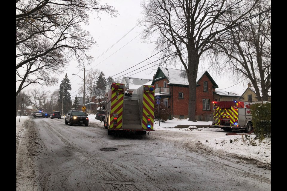 Firefighters are dealing with a house fire on Briar Avenue (Nov. 12, 2019). Maddie Demarte/KitchenerToday