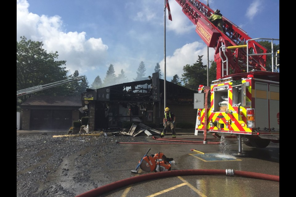 Fire at the OPP detachment in Cambridge on Tuesday, September 4, 2018. Aastha Shetty/KitchenerToday