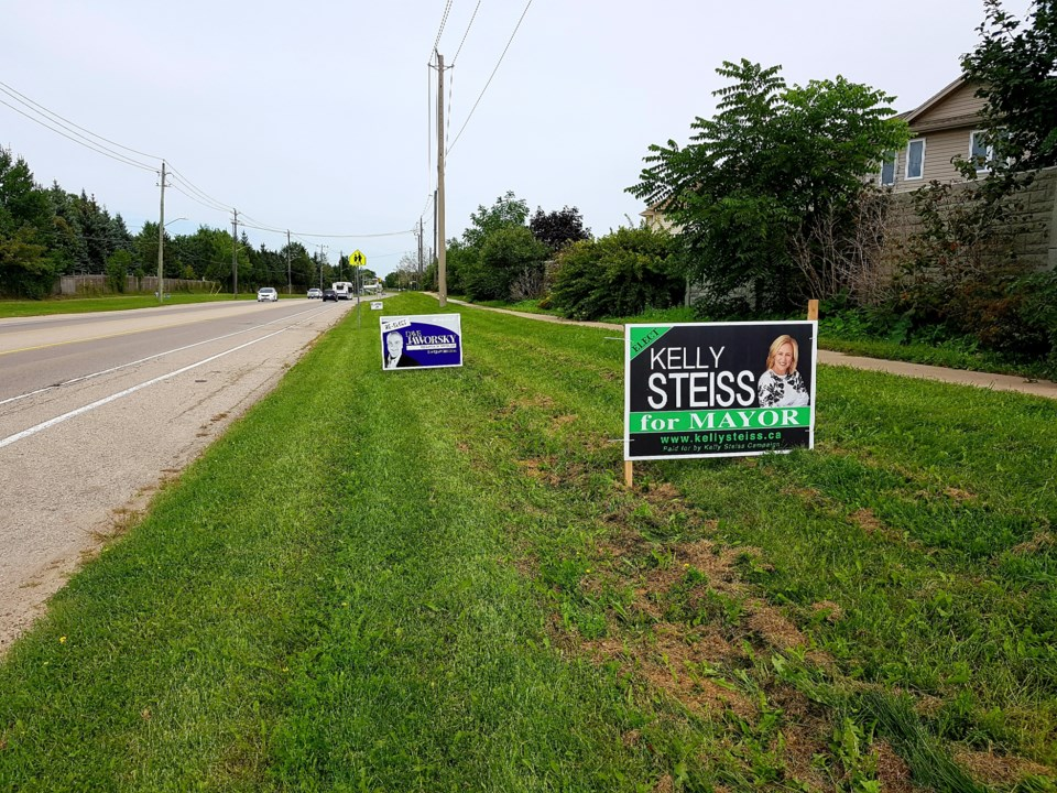 Election signs in Waterloo